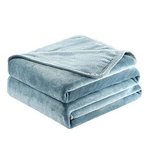 Surii Home Luxury Microfiber Flannel Blanket, Super Soft, Warm, Cozy, Fluffy, and Breathable, Perfect Throws for Bed, Couch, Sofa, for All Season Use. 350GSM King Size 108x90 Inches(Gloomy Blue)