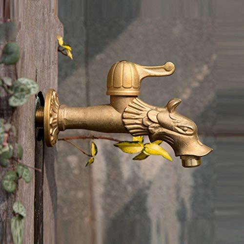 Jardín al aire libre El grifo alarga la fregona del grifo de la piscina Campo antiguo Dragón Forma Arte Agua fría Montado en la pared Grifo de la lavadora, Bronce antiguo A