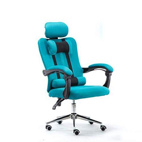 HHJJ Silla de escritorio con respaldo sedentario, de malla, para computadora, con cordones, para tumbarse y levantar, con reposapiés – 59181R9H2E (color: azul)
