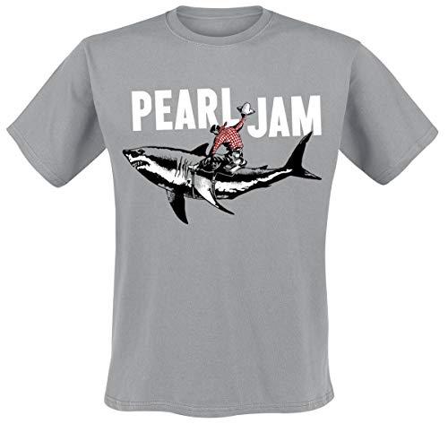 Pearl Jam Shark Cowboy Uomo T-Shirt Grigio XL 100% Cotone Regular