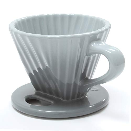 Chantal Lotus Ceramic Pour Over Coffee dripper, 8 Ounce, Fade Grey