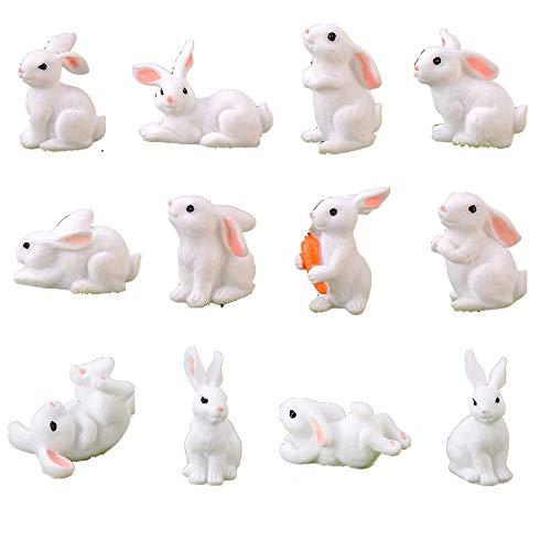 HYSTYLE 12 Pcs Cute Animal Rabbit Miniature Animal Figures Mini Bunny Figurines, Rabbit Cake Cupcake Toppers, Rabbit Cake Decoration, Miniature Fairy Garden Decoration