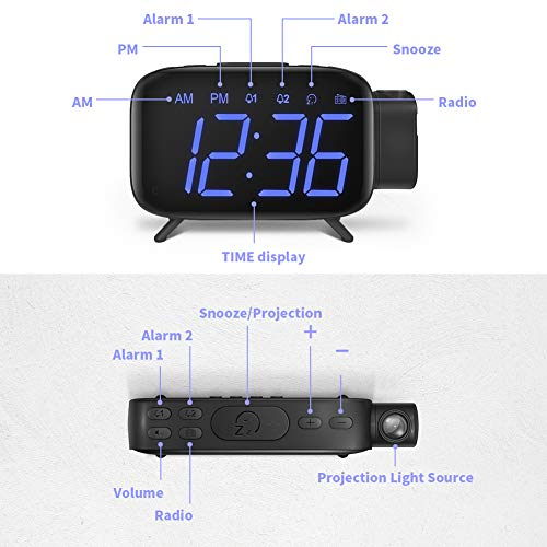ELEHOT Projection Alarm Clock, FM Radio Alarm Clock, Digital Clock with Power Adapter, Alarm Clocks for Bedrooms