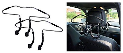 2 Stück Autokleiderbügel Kleiderbügel für PKW, KFZ Reisebügel zur Befestigung an der Kopfstütze (Dressbutler) für Kleider, Hemder, Anzuege Jacke, Shirts usw.Car Headrest Hanger von all-around24 (2)