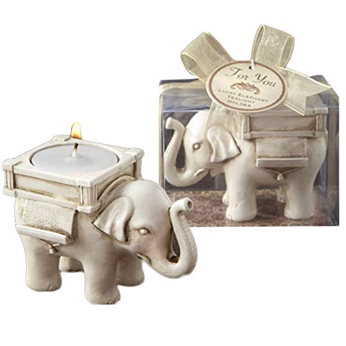Portavelas para velas de té perfumadas, para cumpleaños, pack de 2, polirresina, Elefante blanco, 8.5*6*5cm(3.35*2.36*2inch)