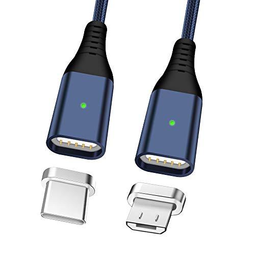 2,4A Cavo di Ricarica Veloce, LAMA 2 Pacchi Cavo Magnetico Ricarica Veloce Cavo Dati con Micro USB Connettori di Tipo C per Maggior Parte Dispositivi Android 1,2m/3,9ft Blu