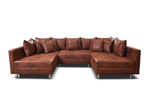 Ecksofa Couch Wohnlandschaft Vintage braun Bild 3*