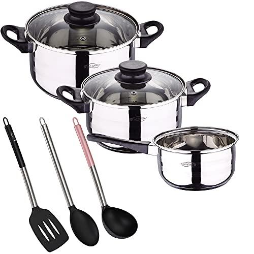 Bateria de cocina 5 piezas San Ignacio de acero inoxidable con set de 3 utensilios de cocina en nylon