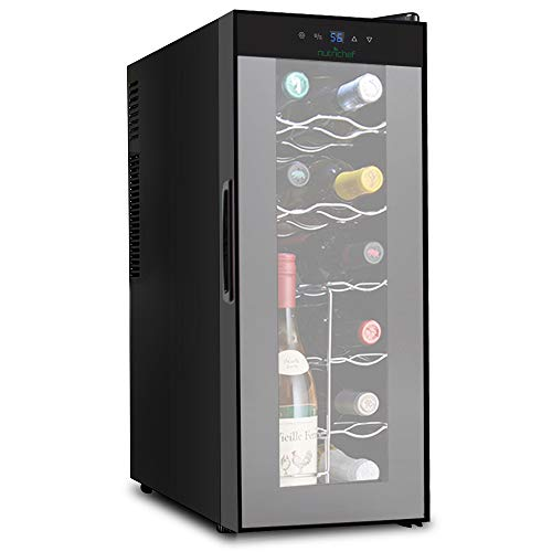 NutriChef PKTEWC120 Nutrichef 12 Bottle Thermoelectric Wine Cooler Refrigerator | Red, White, Champagne Chiller | Counter Top Wine Cellar | Quiet Operation Fridge | Touch Temperature Control