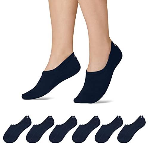 Snocks Sneaker Socken Damen und Herren (6x Paar) Füßlinge (6x Dunkelblau, 43-46)