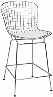 Mod Made Mid Century Modern Chrome Wire Counter Stool for Kitchen or Bar, White