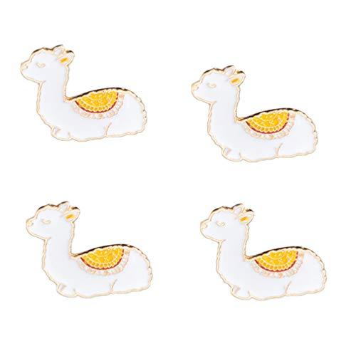 Amosfun 4pcs Alpaka Brosche niedlichen Cartoon Tier Emaille Anstecknadel Abzeichen für Damen Mädchen Frauen