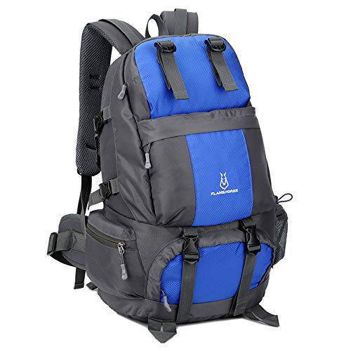Lixada hiking backpack 50L waterproof trekking backpacks with shoe compartment for climbing camping mountaineering blue