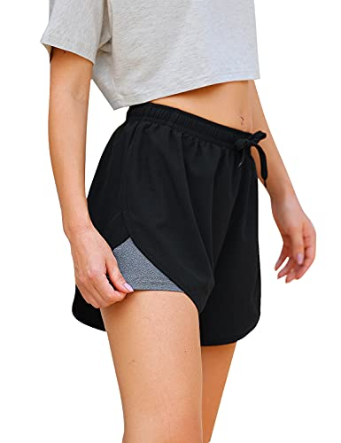 Blooming Jelly Womens High Waisted Running Shorts Drawstring Elastic Athletic Shorts Double Layer Workout Pants (S,Black)