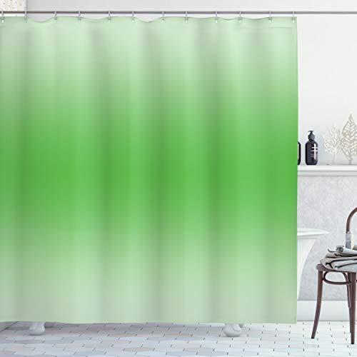 OMBRE Duschvorhang von ambesonne, Moos Leaf Nature Spring inspiriert Farbe Ombre Design Digitale Zimmerdekoration, Stoff gedruckt Badezimmer Decor Set mit Haken, 177,8cm, grün