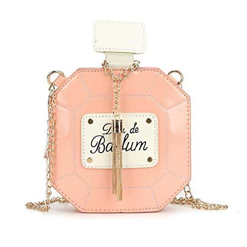 COUYY Kleines frisches Kunst Mädchen All-Match-Messenger Bag Niche Design Parfüm Flasche Quaste Kette Tasche Umhängetasche Neue,Rosa