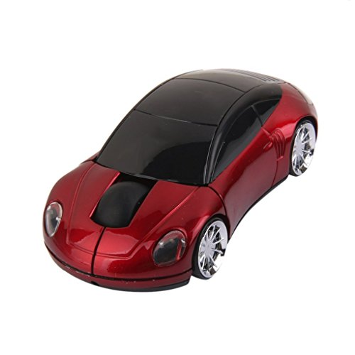 2.4GHz 3D Car Shape Wireless Optical Mouse USB Gaming Mouse with Receiver for PC Laptop (Red)