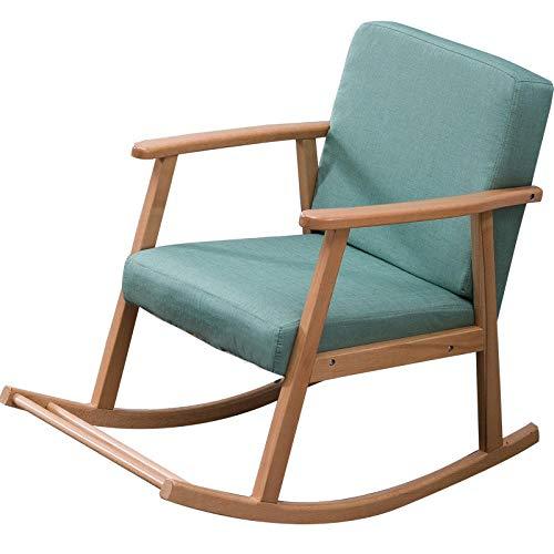 WANGYG Schaukelstühle Massivholz Schaukelstuhl faul Freizeit Schaukelstuhl Sessel Erwachsenen Siesta Stuhl Liege Balkon Senioren Stuhl Wohnzimmer - blau