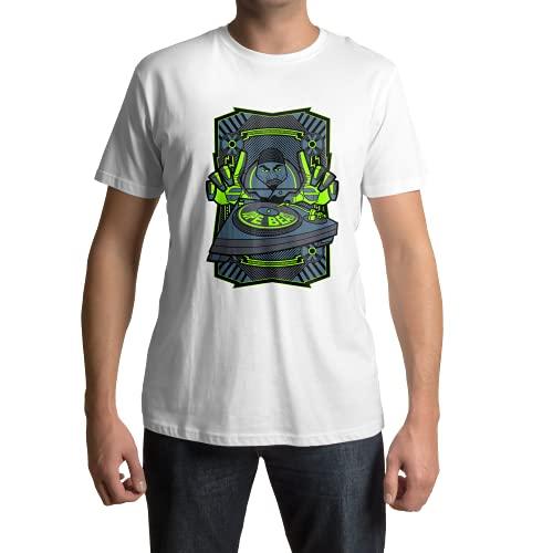 Imprenta2 - Camiseta Personalizada Dope Beats - DJ - 100% Algodón Orgánico - 185 g - Unisex (Blanco, L)