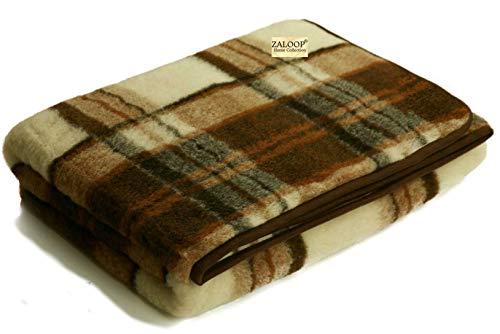 Zaloop Wolldecke 100prozent Schurwolle Merino Decke Wohndecke Bettdecke Tagesdecke Wolle (ca. 200 x 240 cm, kariert)