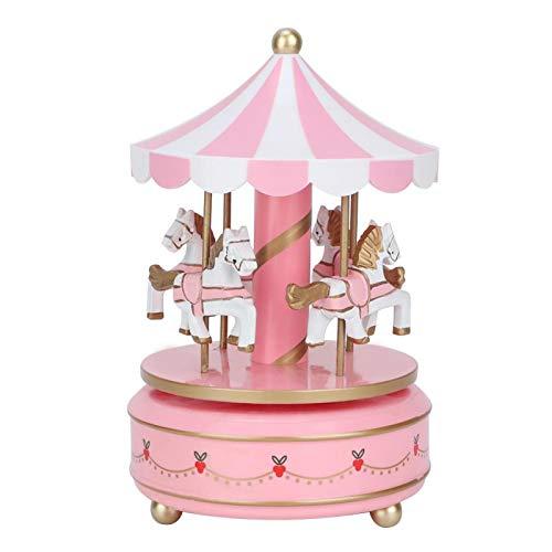 Oumefar Merry-Go-Round Caja de música Carrusel de música Caja Musical de Caballo Tamaño estándar Habitación del bebé Junto a la Cama Decoración del hogar Navidad Boda Regalo de cumpleaños(Pink)
