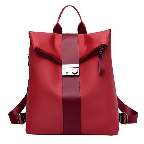 Bolsos Mochilas Antirrobo Tipo Casual de Viaje y Escuela de Tela Oxford para Hombre y Chicos Bolsos de Personalidad Diario Paquete de Cuero Vintage Messenger Bag Backpack (Rojo A)