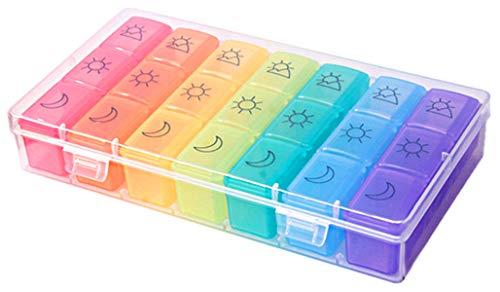 XGzhsa Porta pastiglie settimanale, Portapillole in plastic, 7 giorni 21 scomparti portapillole portatile da viaggio per pillole da prescrizione, vitamine, medicinali e integratori alimentary