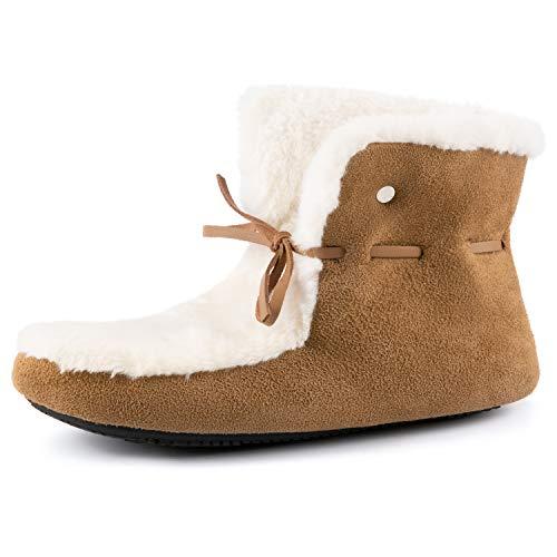 RockDove Women's Memory Foam Slipper Bootie House Boot with Rubber Sole, Size 11-12 US Women, Chestnut