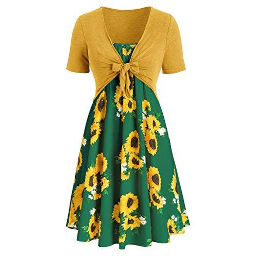 Women Dress Summer Women Vintage Daily Short Sleeve Dress Sunflower Print Mini Dress with Bow Crop T-Shirt Mint Green