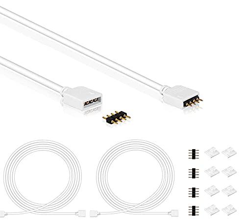 Haisheng 6PCS Cable de Extensión LED Cables de Extensión RGB Alargador LED Extensión LED 4 Pines con 12PCS Conector de Tira LED Conector LED 4 Pines con 24PCS Clips Organizador de Cables