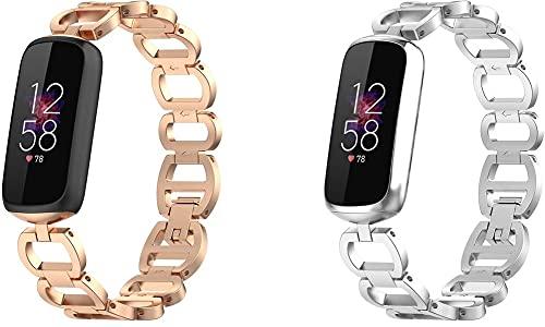 Gransho Compatible con Fitbit Luxe/Luxe Special Edition Mujer Hombre Correa de Reloj, Correa de Acero Inoxidable sólida Correa de Metal con Cierre rapido (Pattern 2+Pattern 3)