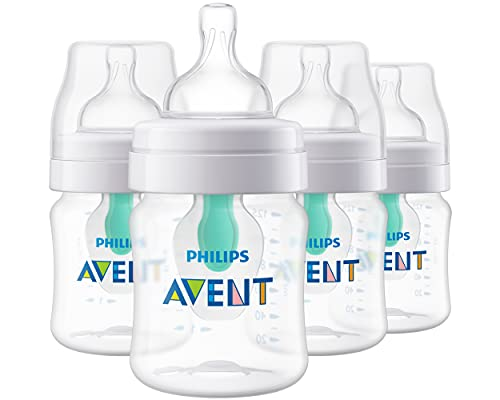 Philips AVENT Anti-Colic Baby Bottles with AirFree Vent, 4oz, 4pk, Clear, SCY701/04