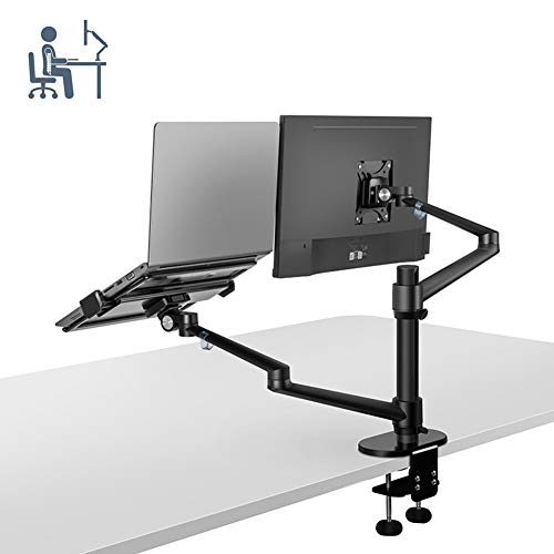 ELEYHO Dual Monitor Bureau Monitor Arms Stand Beugel Full Motion Verstelbaar Compatibel met Past voor 32inch LCD Monitor En 12-17Inch Notebook Up To 8Kg