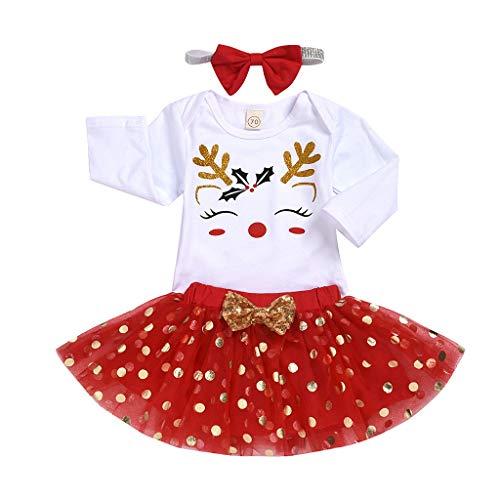 Mamum Bébé Chaussettes Infant Bébé Filles Noël Cartoon Romper Dot Jupe Bandeau Tenues De Noël Vêtements
