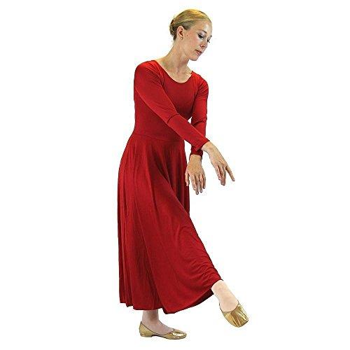 Danzcue Womens Praise Loose Fit Full Length Long Sleeve Dance Dress, Scarlet, Large