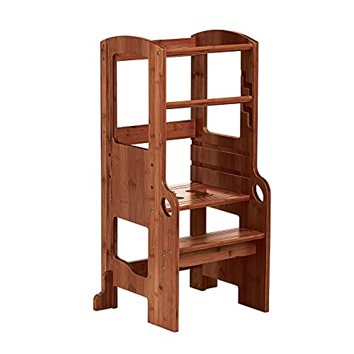 UNICOO- Bamboo Height Adjustable Children Stool, Kids Learning Stool, Kids Kitchen Step Stool, Toddlers Stool, Children Step Stool for Kitchen (Kids Stool Antique Brown - N)