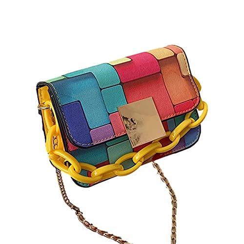 Bolsas de Hombro de WDBK para Mujeres Classic Clutch Hombro Retro Color con Cierre de Cremallera Contraste Tote Bolso