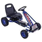 Costway Kart à Pédalesd'Extérieur pour Enfants Go-Kart Enfants avec Frein et Embrayage Siège Réglable (Bleu)