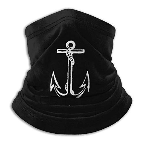Bufanda de pasamontañas náutica Azul Marino con Ancla de Pirata, Calentador de Cuello a Prueba de Viento, Bufanda de pasamontañas de Cara UV para Deportes al Aire Libre