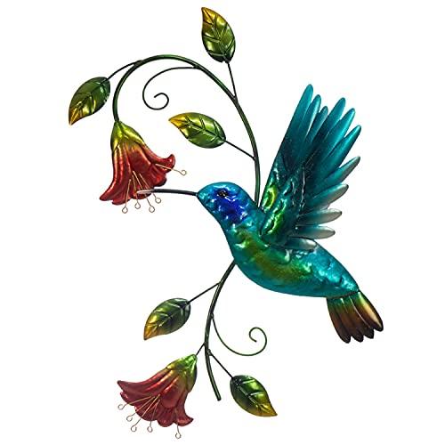SWEET HUMMINGBIRD METAL WALL DECOR, Farmhouse Metal Wall Art, Porch, Patio Wall Decor, Backyard Garden Fence Decorations Outdoors, Handpainted
