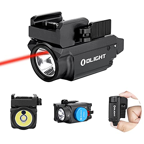 OLIGHT Baldr RL Mini 600 Lumens Magnetic USB Rechargeable Ultra-Compact Weaponlight with Red Beam and White LED Combo, Compatible with Adjustable Rail (Black)
