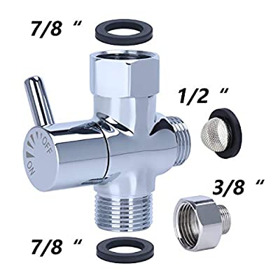YUHX Brass Bidet T Adapter with Shut-Off Valve,3 Way 7/8 or 15/16 and 1/2 or 3/8,Metal t valve for bidet tee connector water diverter valve