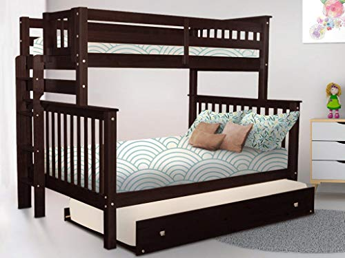 Bedz King Bunk Beds Twin Over Full Mission Style with End Ladder and a Twin Trundle, Dark Cherry