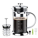French-Press-Coffee-Maker,34 OZ Stainless Steel Coffee Maker with 2 Level Filtration System, Large Heat Resistant Borosilicate Glass