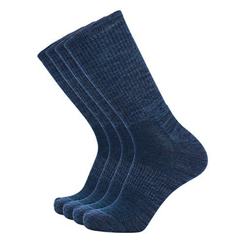 Enerwear-Coolmax 4P Pack Men's Merino Wool Blended Blister Free Trail Socks (US 10-13, Dark Navy Blue/Jean Blue)