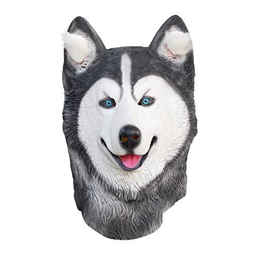 Doolland Máscara de látex para perro Husky siberiano con cabeza de animal,...