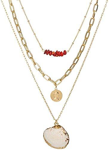 NC190 Collar Charm Multi Layer Color Coral Shell Collar de Cadena Larga con Colgante Mujeres Retrato Moneda Carta Collar en Capas