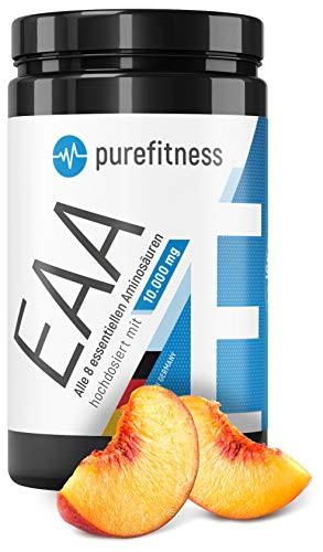 PREMIUM EAA Pulver hochdosiert mit 10.000mg I Alle 8 essentielle Aminosäuren I 400g I Vegan I LABORGEPRÜFT I Pfirsich-Eistee EAAS Pulver