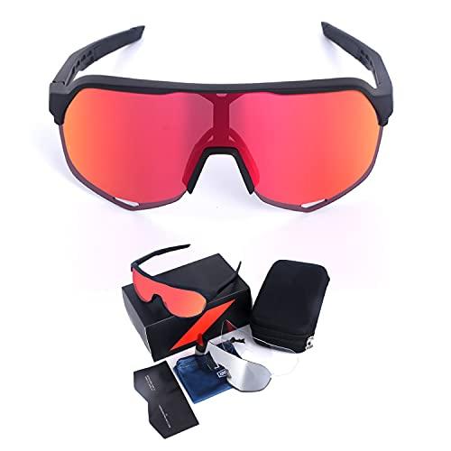 BeIM Herren Fahrradbrille Sportbrille Polarisiert Radsportbrillen mit 3 Wechselgläser UV400 Schutz Winddicht für Radsport Laufen Angeln Schwarz - Rot