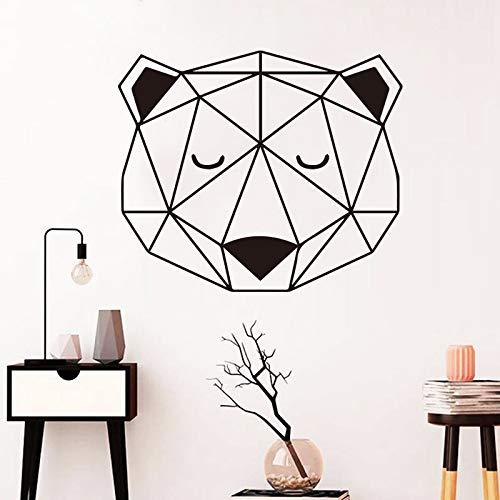 Nordic Bär geometrische Wandaufkleber Vinyl Aufkleber Schlafzimmer Dekoration für Familie Wohnzimmer Kinderzimmer kreative Dekoration Aufkleber Wandbild Tapete A6 49x57cm